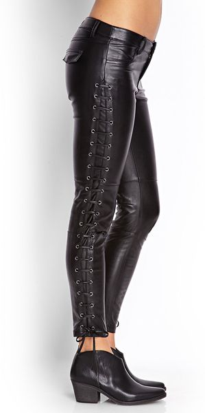 Forever 21 Lace Up Faux Leather Pants In Black Lyst