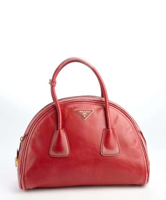 Prada Red Leather Vitello Vintage Bowler Bag in Red | Lyst