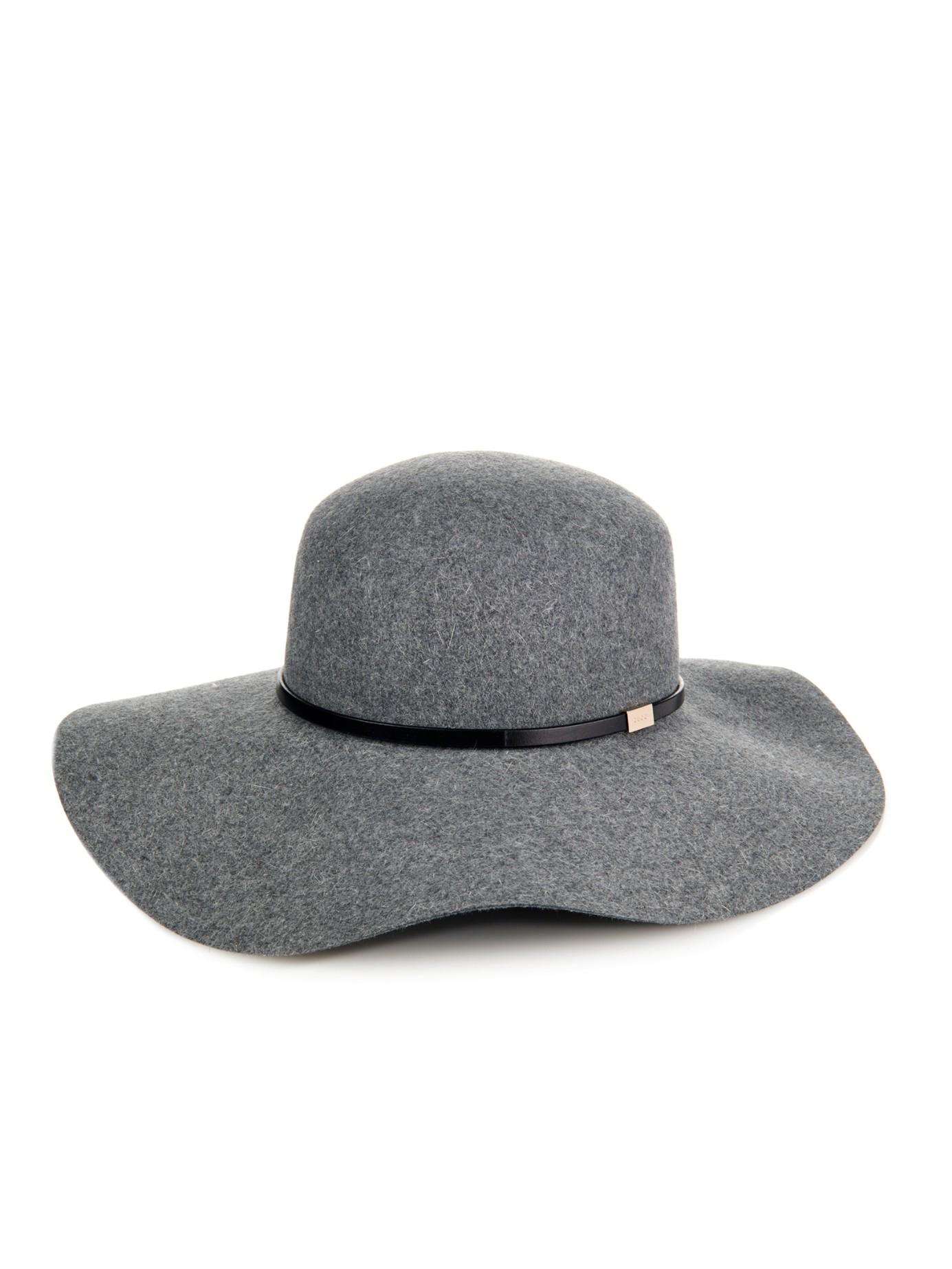 aaf21a781 Lyst - Gucci Wide-Brim Fur-Felt Hat in Gray