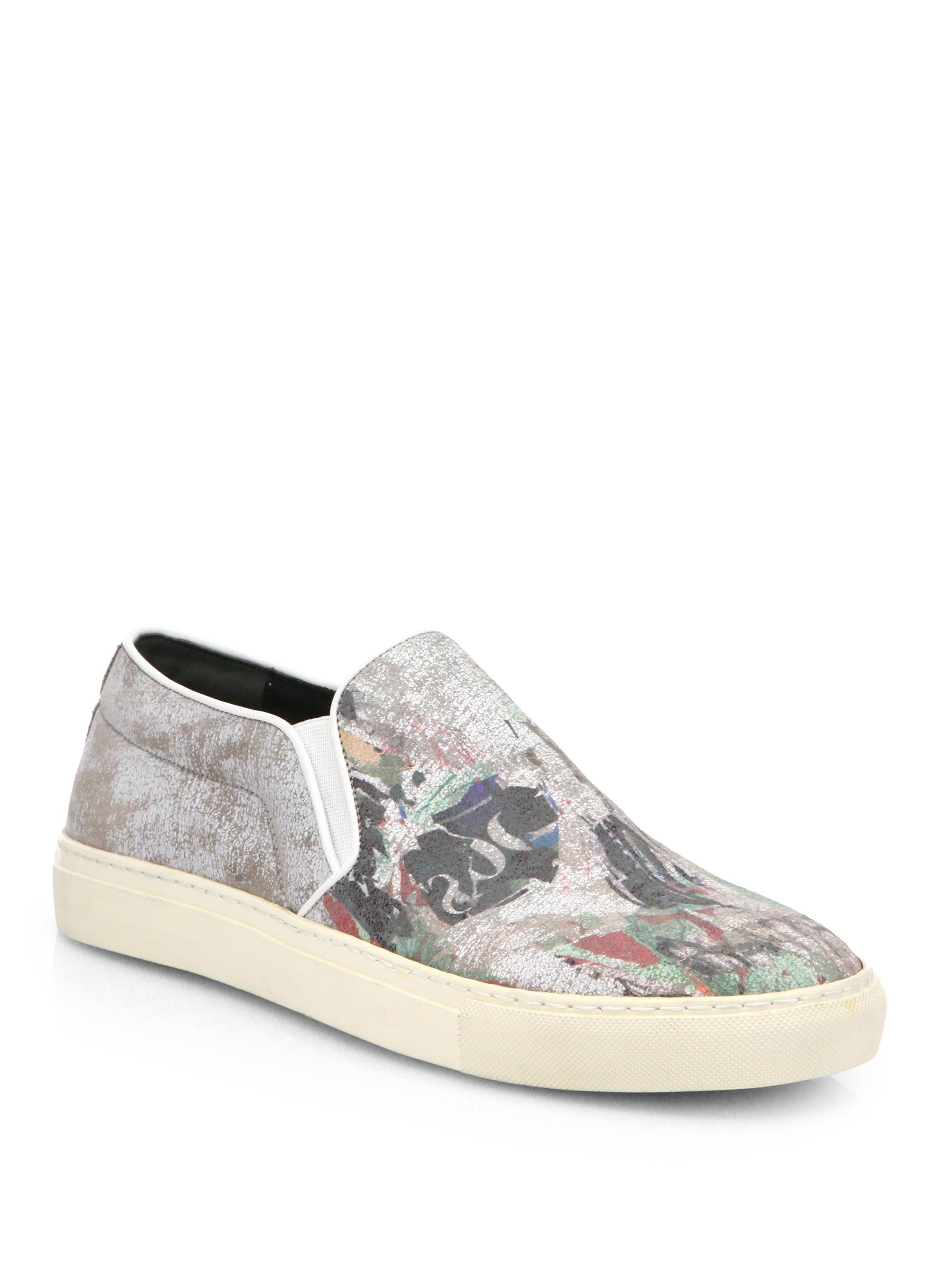 Skull Print Slip On Shoes