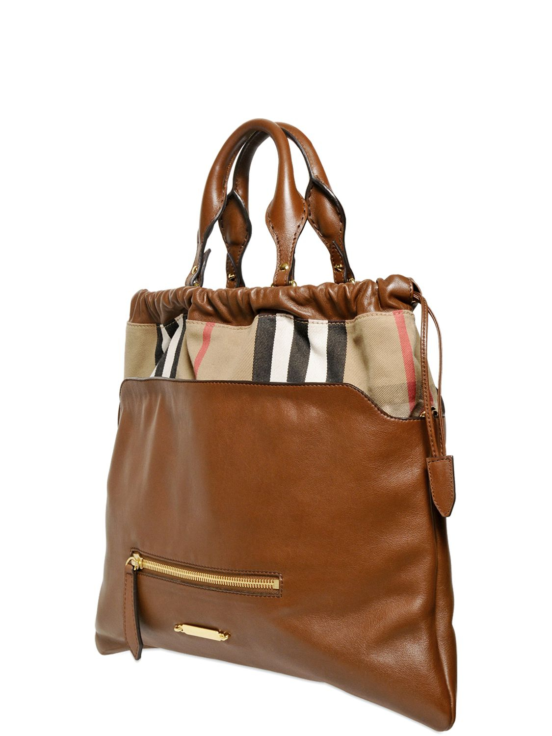 ddbebd6c7a25 Lyst - Burberry Big Crush Bridle House Check Bag in Brown