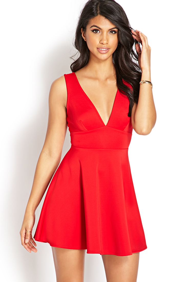 Lyst Forever 21 V Cut Fit Amp Flare Dress In Red