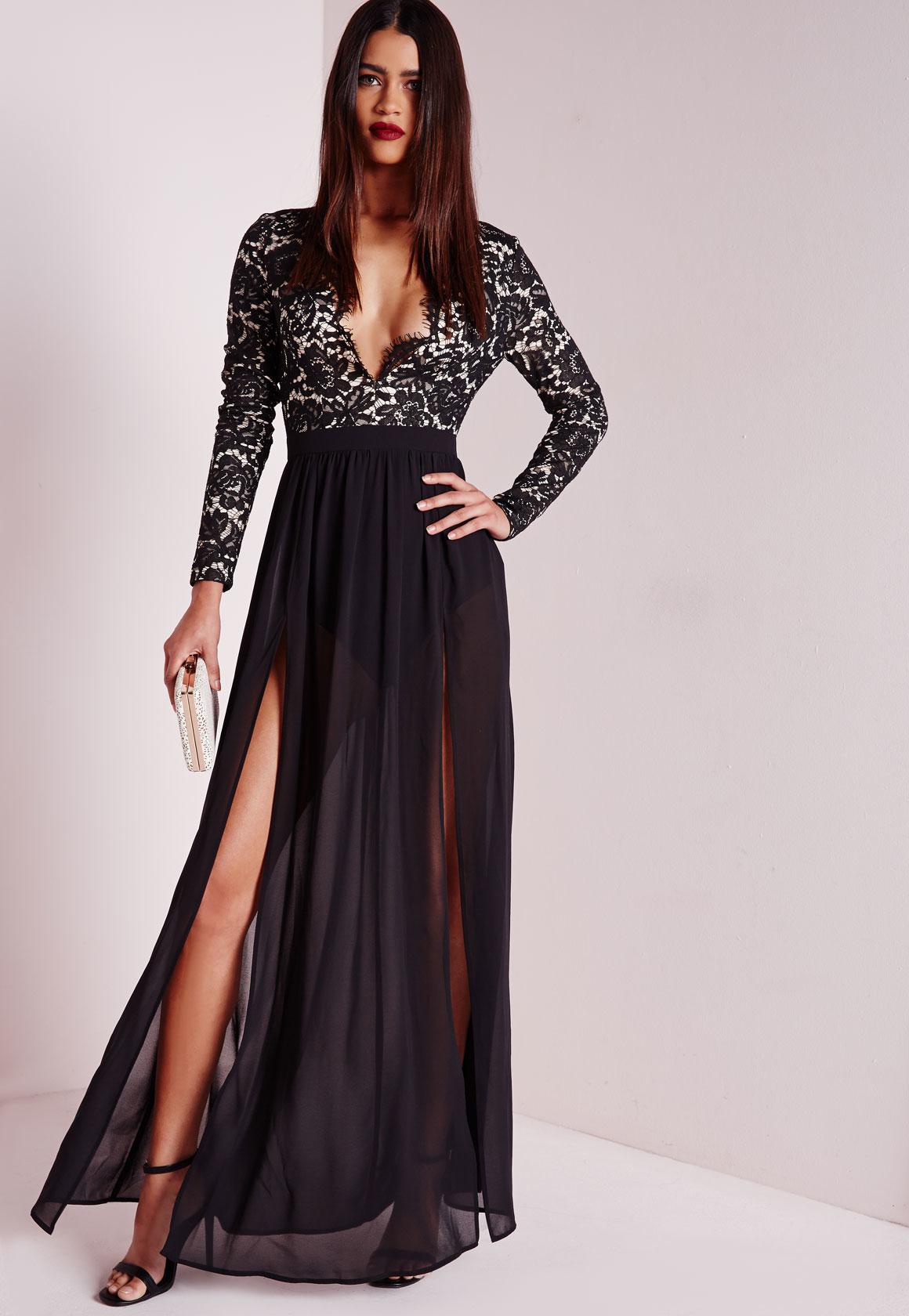 Scallop lace maxi dress