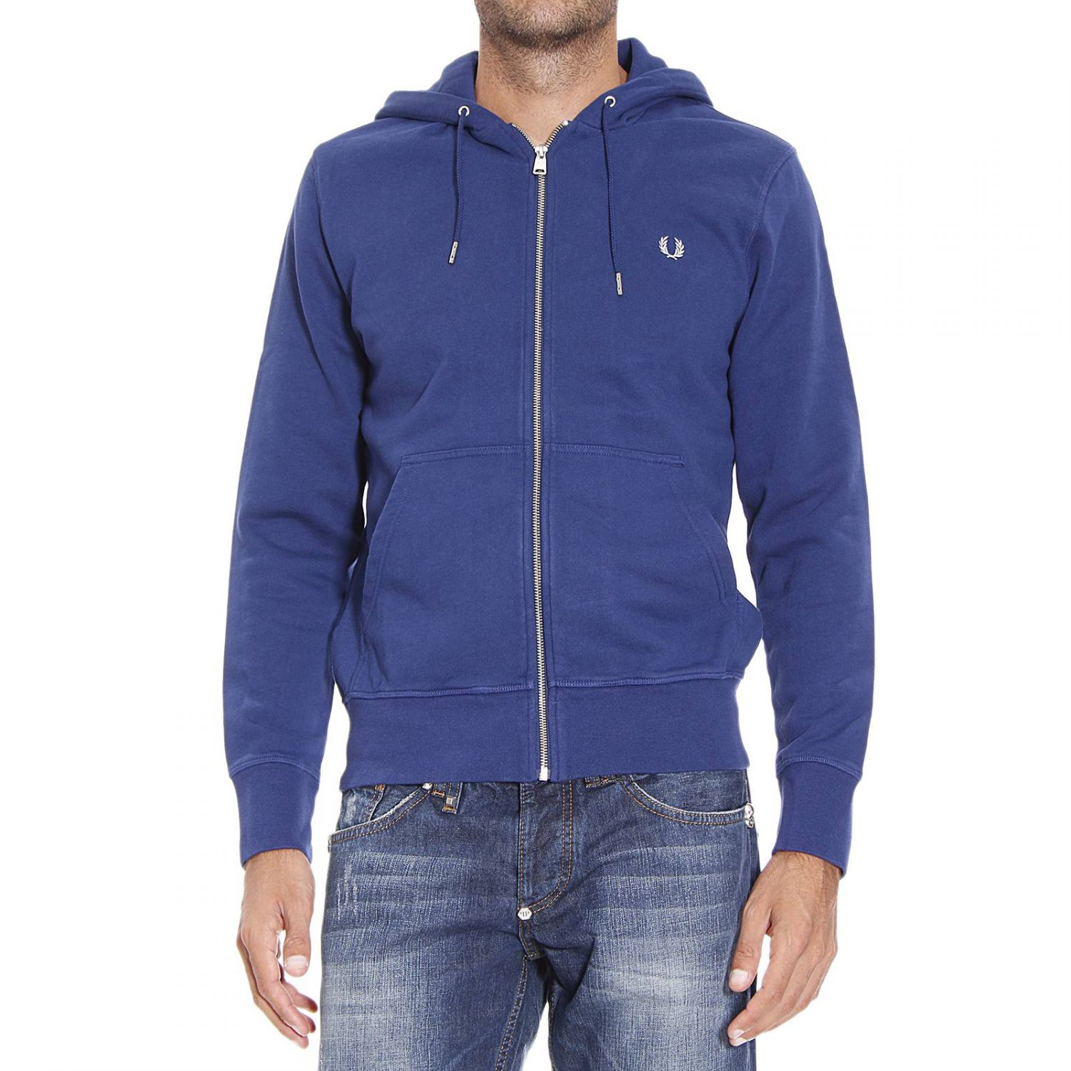 fred perry sweater sweetshirt zip with hoodie in blue for. Black Bedroom Furniture Sets. Home Design Ideas
