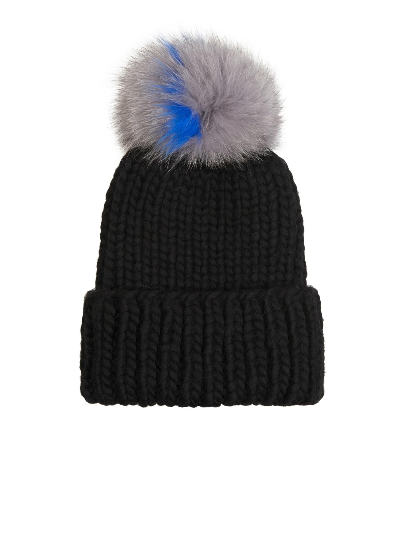 125707c74b1dec Eugenia Kim Rain Fur Pompom Beanie Hat in Black - Lyst