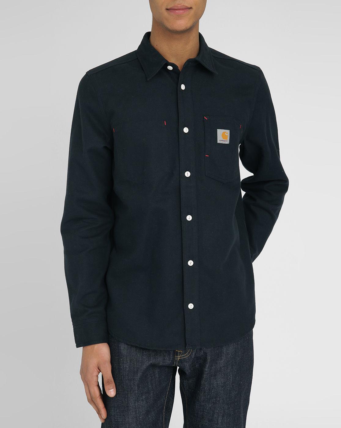 Carhartt tony navy twill shirt with italian collar in blue for Tony collar dress shirt