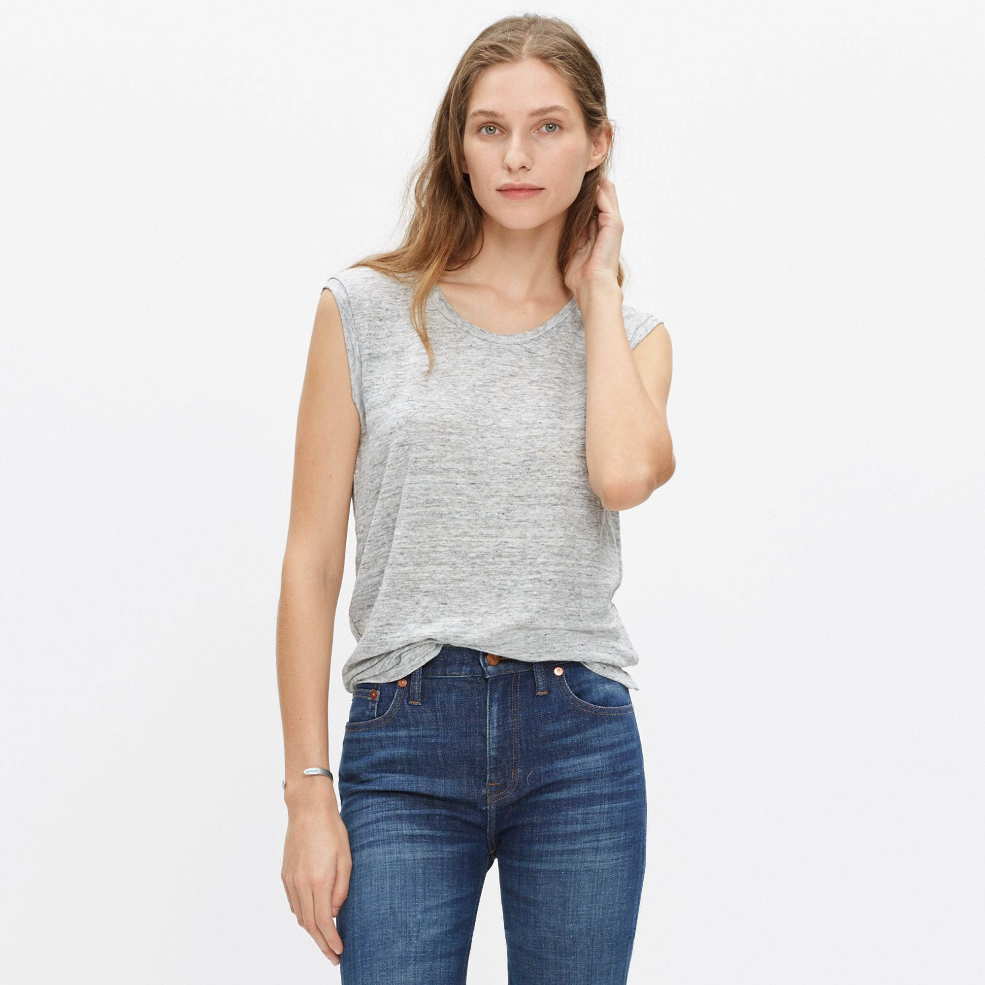 Lyst madewell modern linen heathered muscle tee in metallic for Silver metallic shirt women s