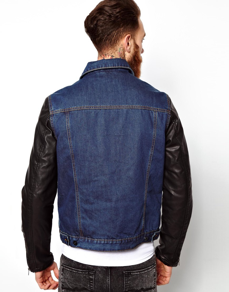 Asos Denim Jacket With Leather Look Sleeves In Blue For -4344