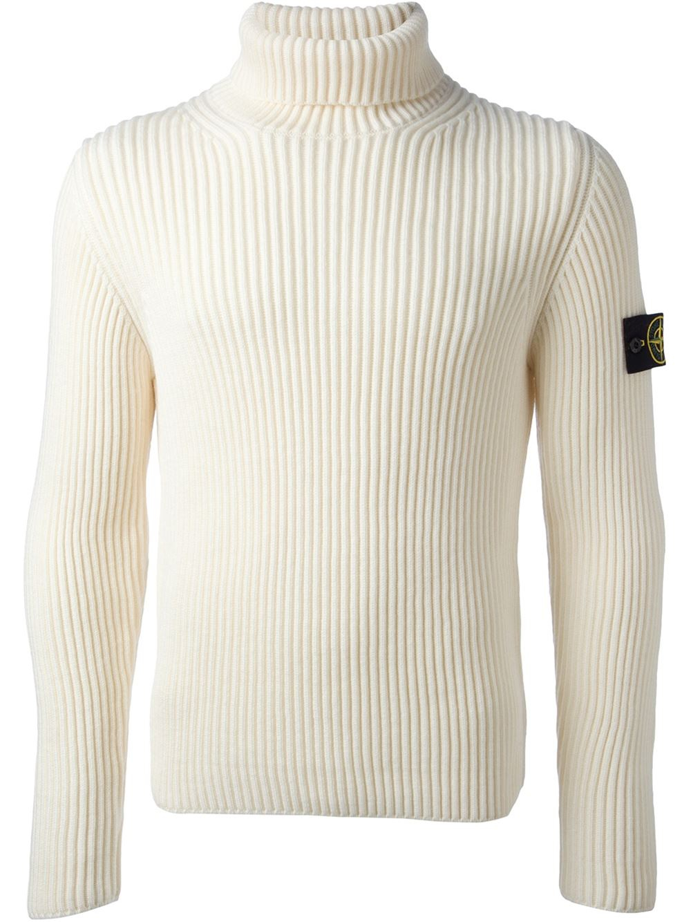 Stone island Ribbed Sweater in White for Men | Lyst