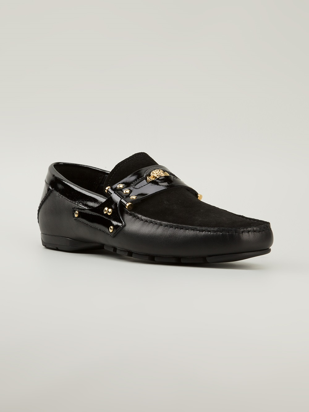 Versace Contrast Panel Driving Shoes In Black For Men Lyst
