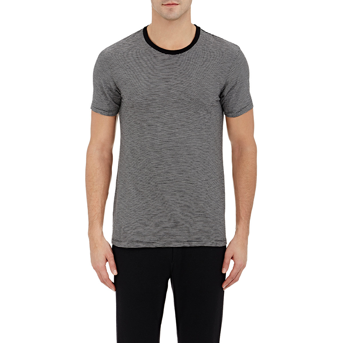 Barneys new york men 39 s striped jersey t shirt in black for for New york and company dress shirts