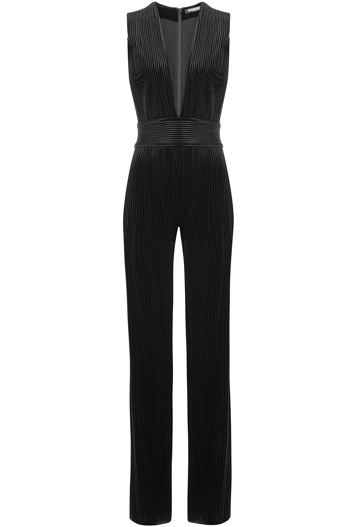 e079c3dc534a Balmain Pleated Jumpsuit - Black in Black - Lyst