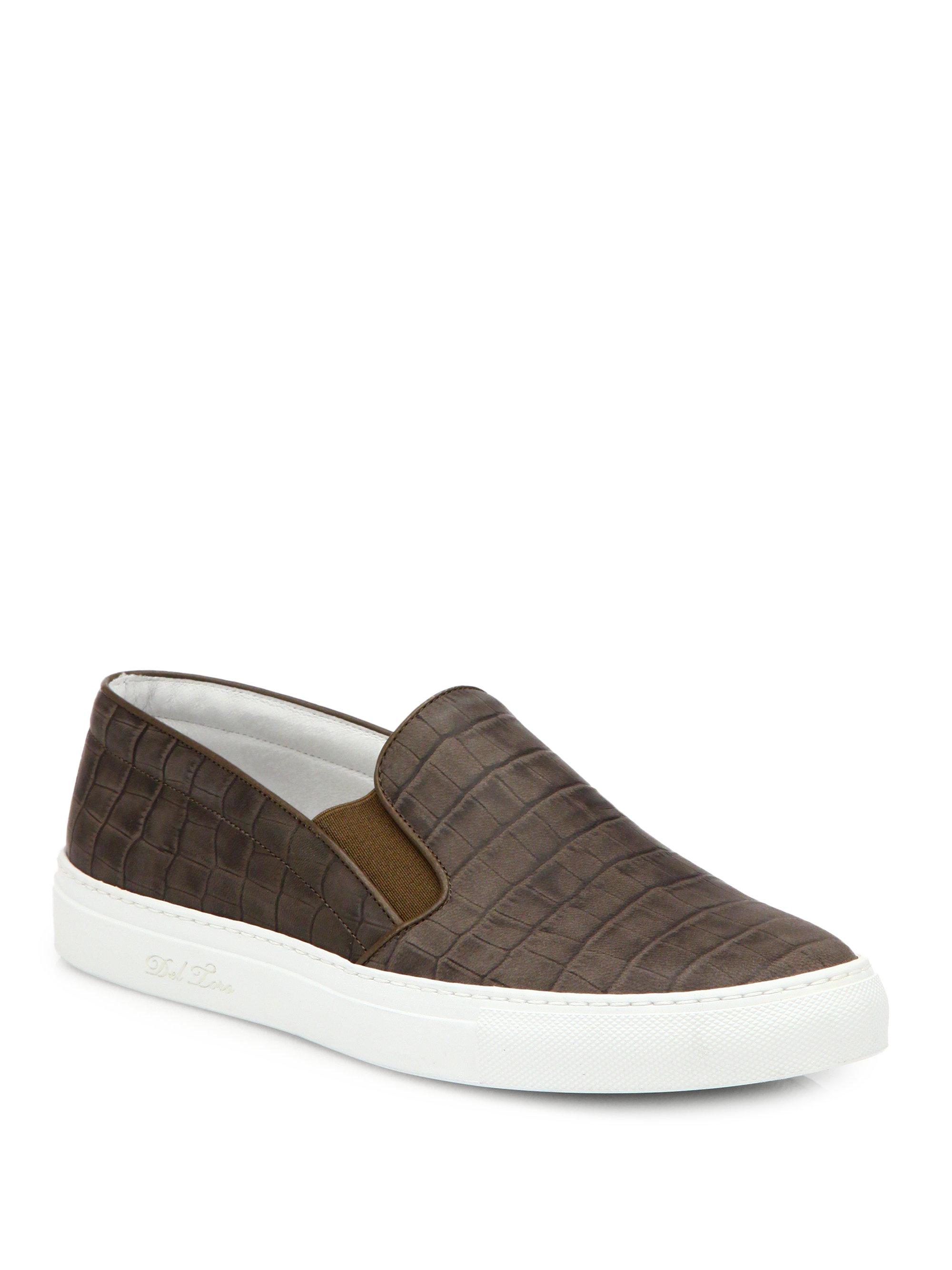 Brown Leather Faux Croc Shoes