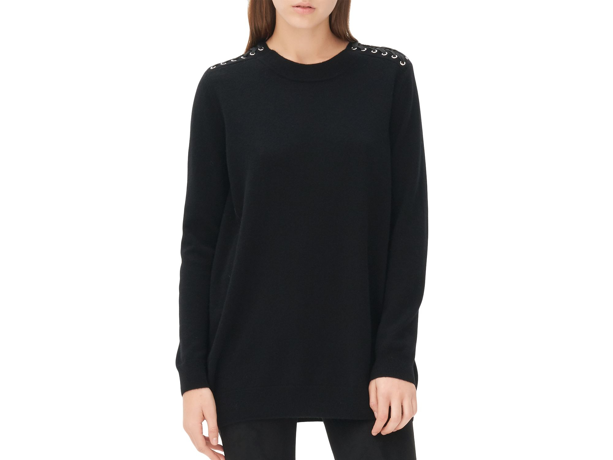 49ab60c3ee Lyst - Sandro Shelsy Lace Up Detail Sweater in Black