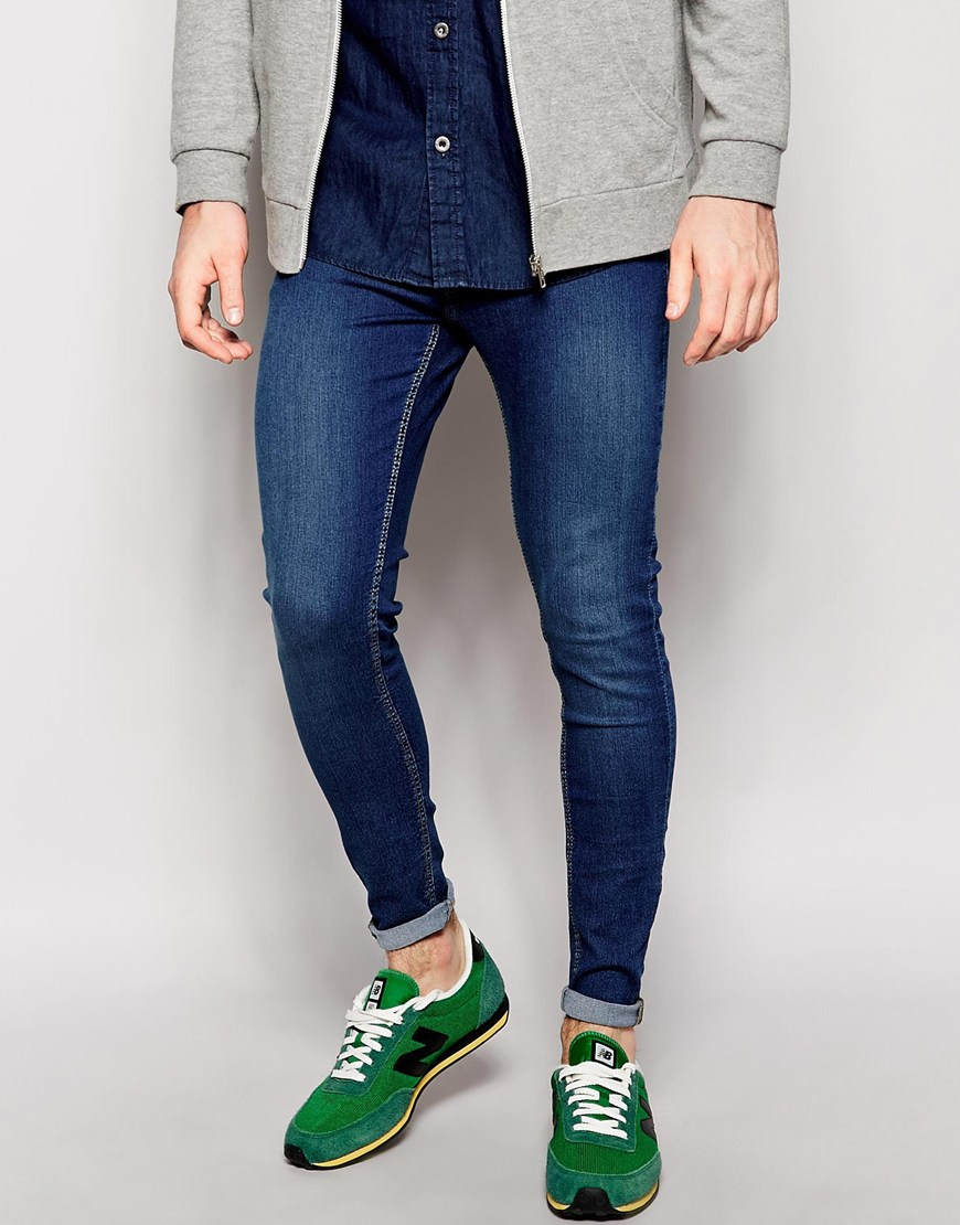 Cheap monday Jeans Low Spray Extreme Super Skinny Mid Blue in Blue ...
