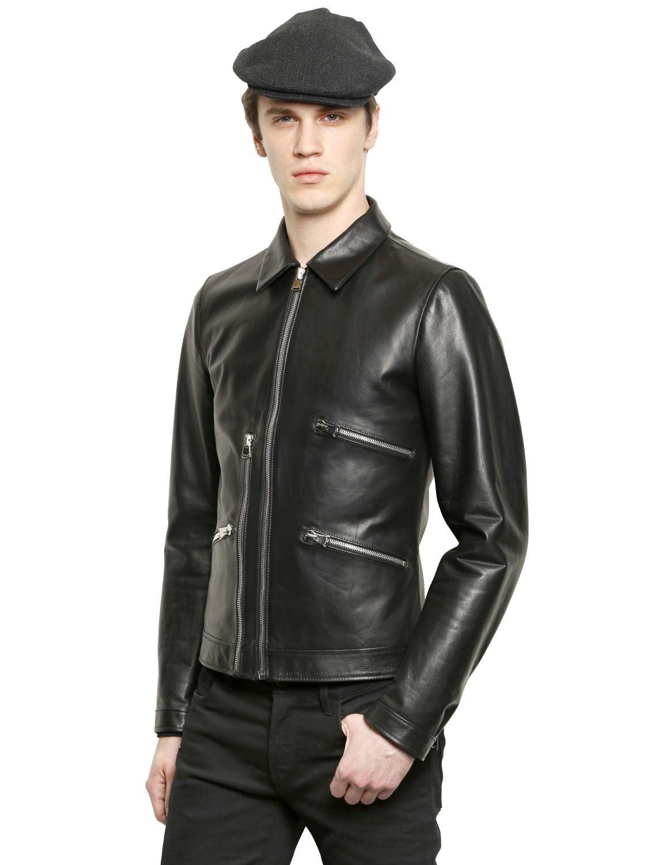 dolce gabbana multi zip bull leather jacket in black for men lyst. Black Bedroom Furniture Sets. Home Design Ideas