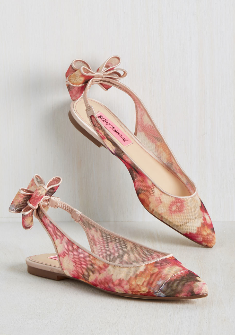 betsey johnson botanical occasion flat in floral pink lyst