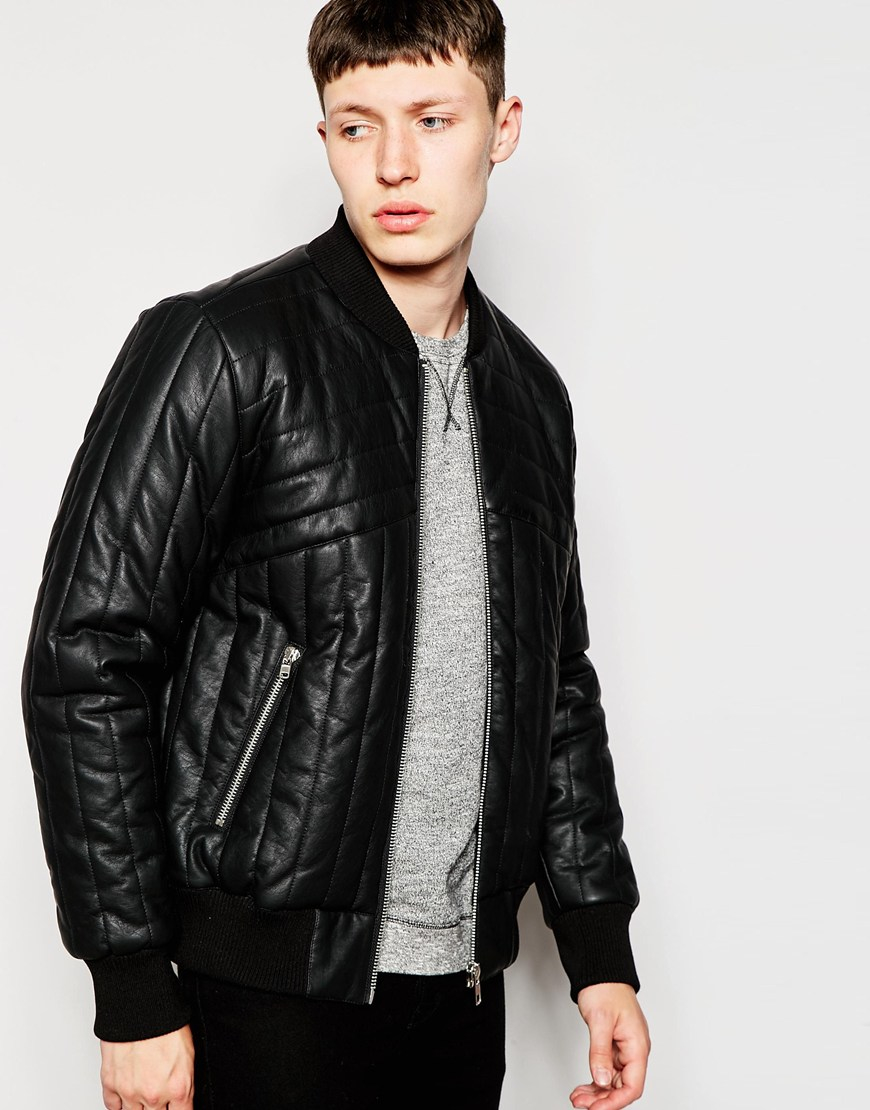 Bellfield Faux Leather Quilted Bomber Jacket in Black for Men | Lyst