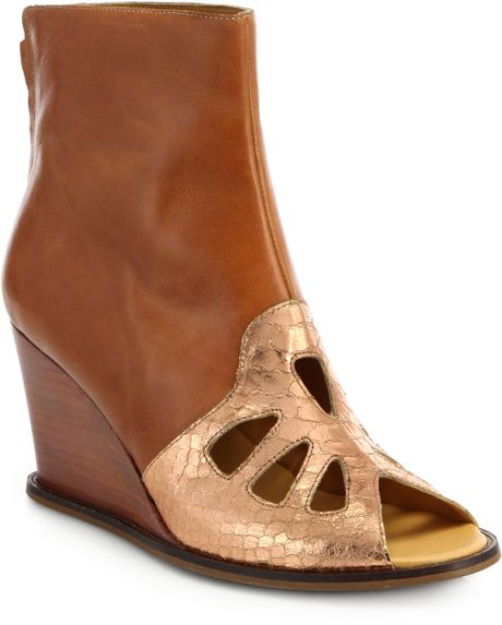 maison martin margiela cutout leather wedge ankle boots in