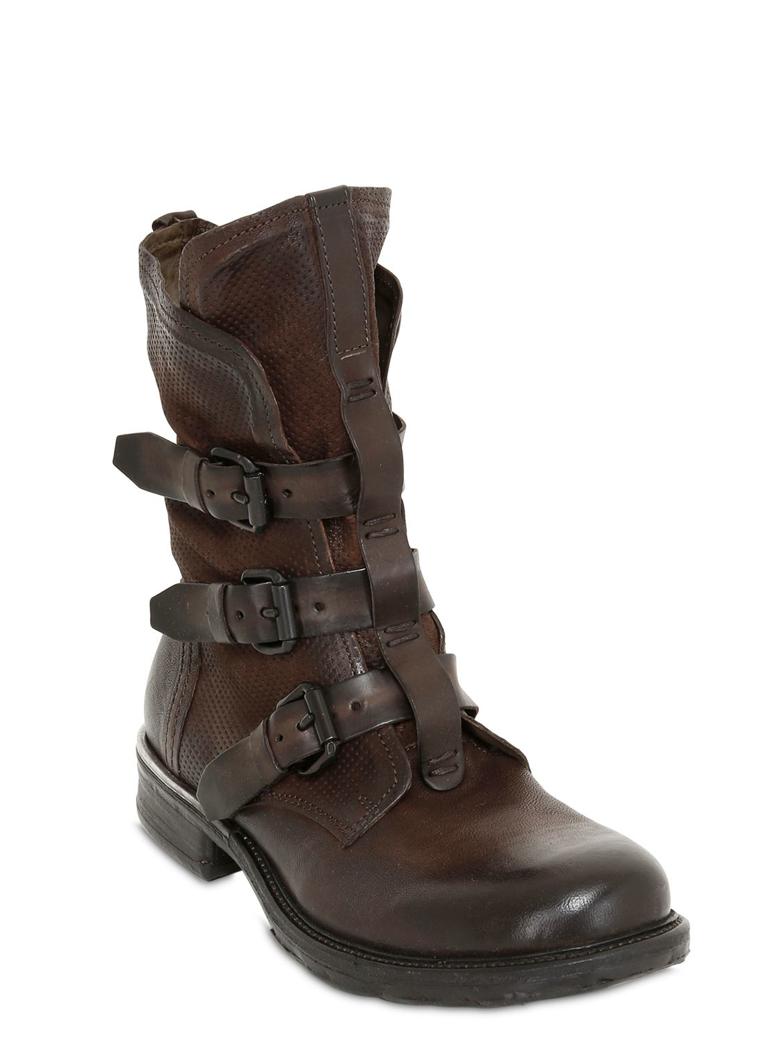 Lyst A S 98 3 Buckles Washed Leather Boot In Brown