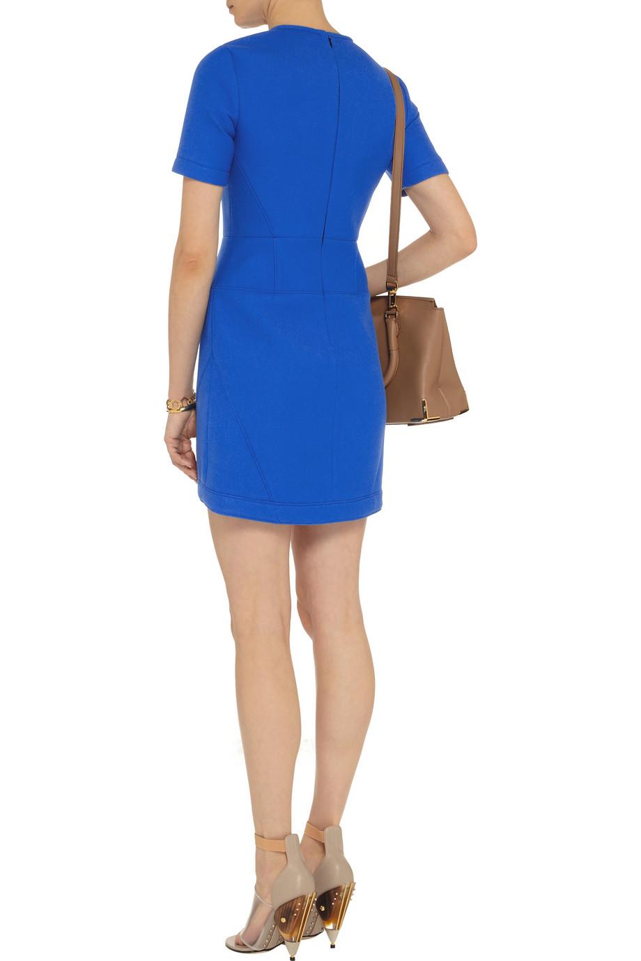 Tibi Scuba Jerseybacked Twill Mini Dress in Blue - Lyst