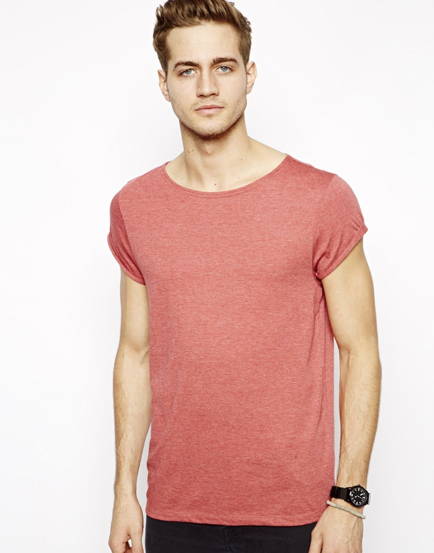 Asos Tshirt With Boat Neck And Rolled Sleeve In Red For