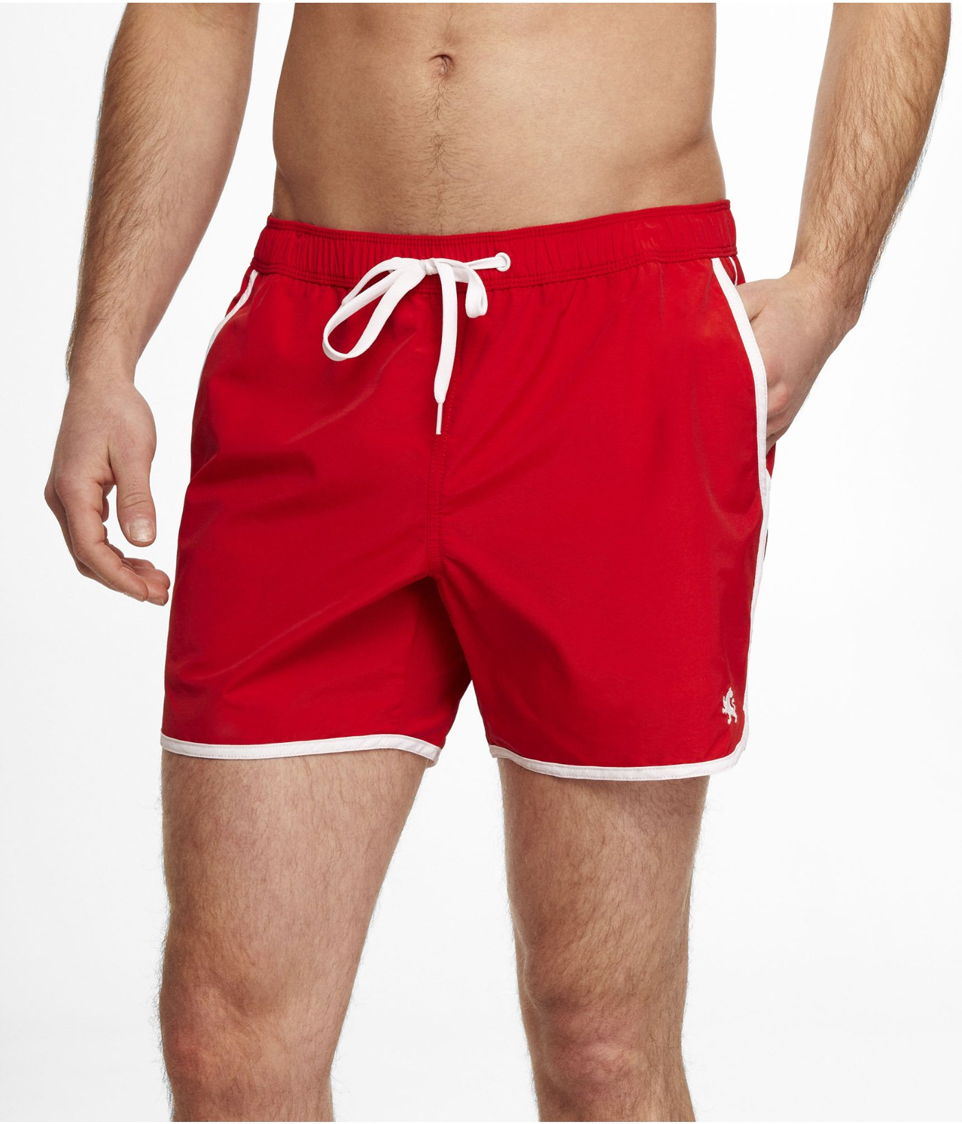 Express 5 Inch Athletic Swim Shorts in Red for Men | Lyst