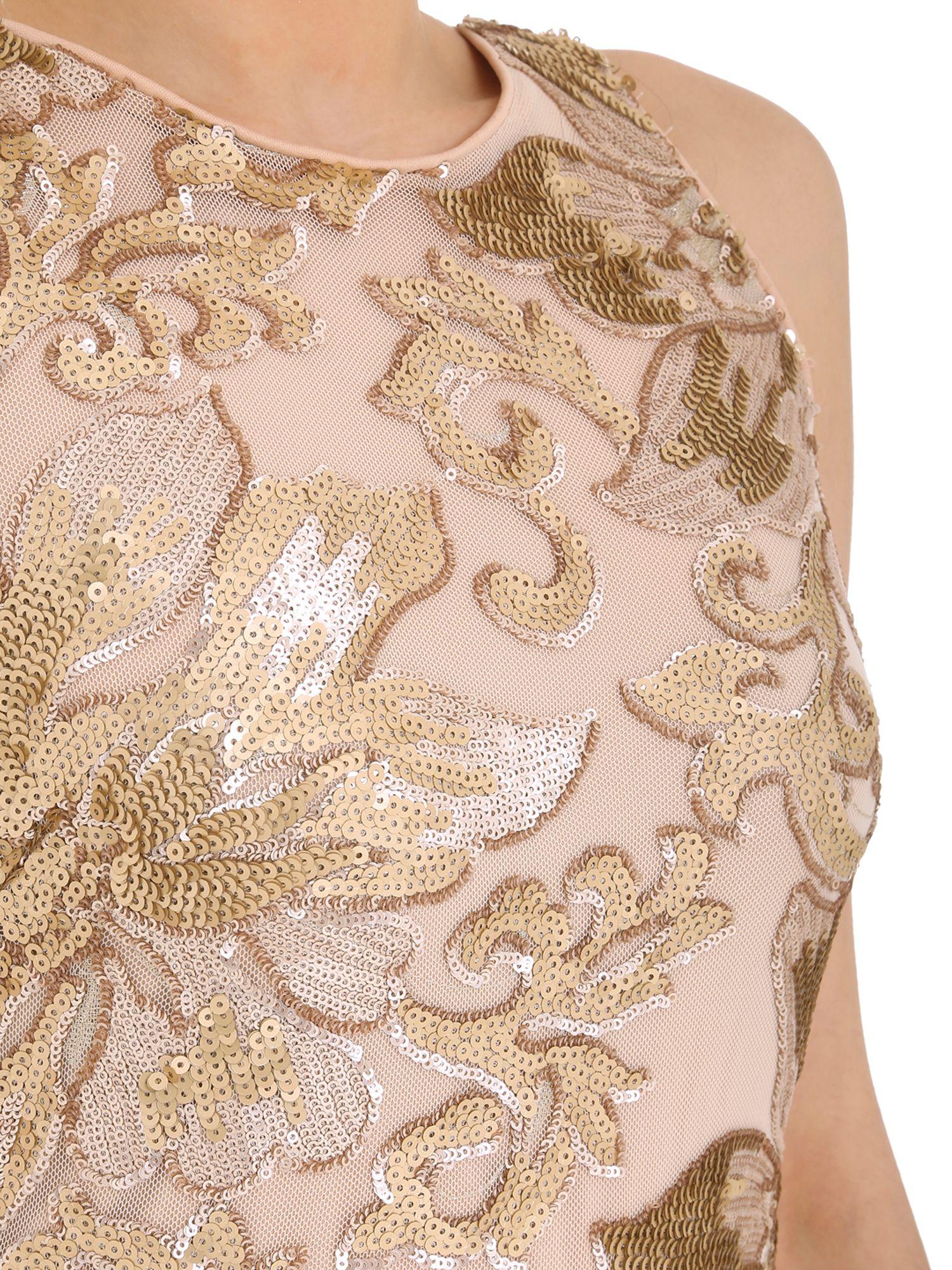 Lyst - Badgley Mischka Floral Sequin Gown in Pink