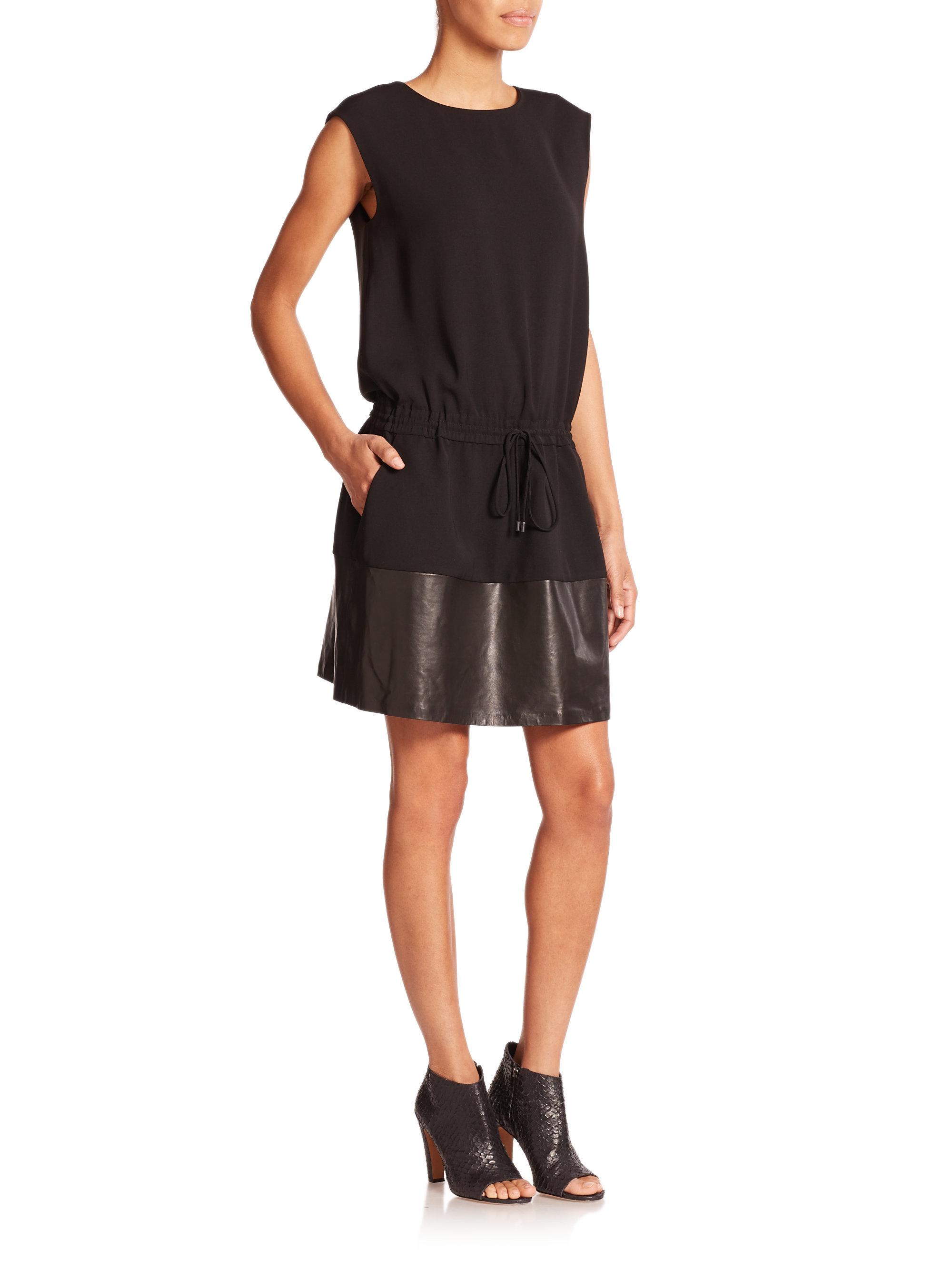 f5f0a8ba7d Vince Leather-trim Drawstring Dress in Black