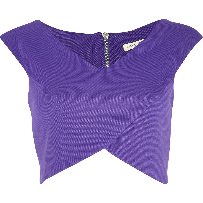6a1a726681cbe River Island Purple Wrap Crop Top in Purple - Lyst