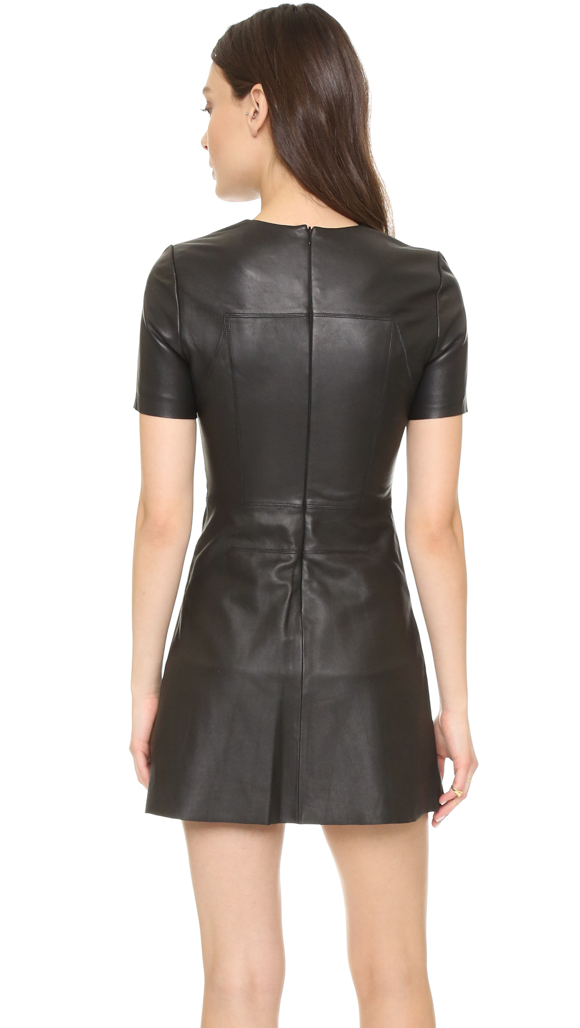 Kendall Kylie Leather Short Sleeve Dress In Black Lyst
