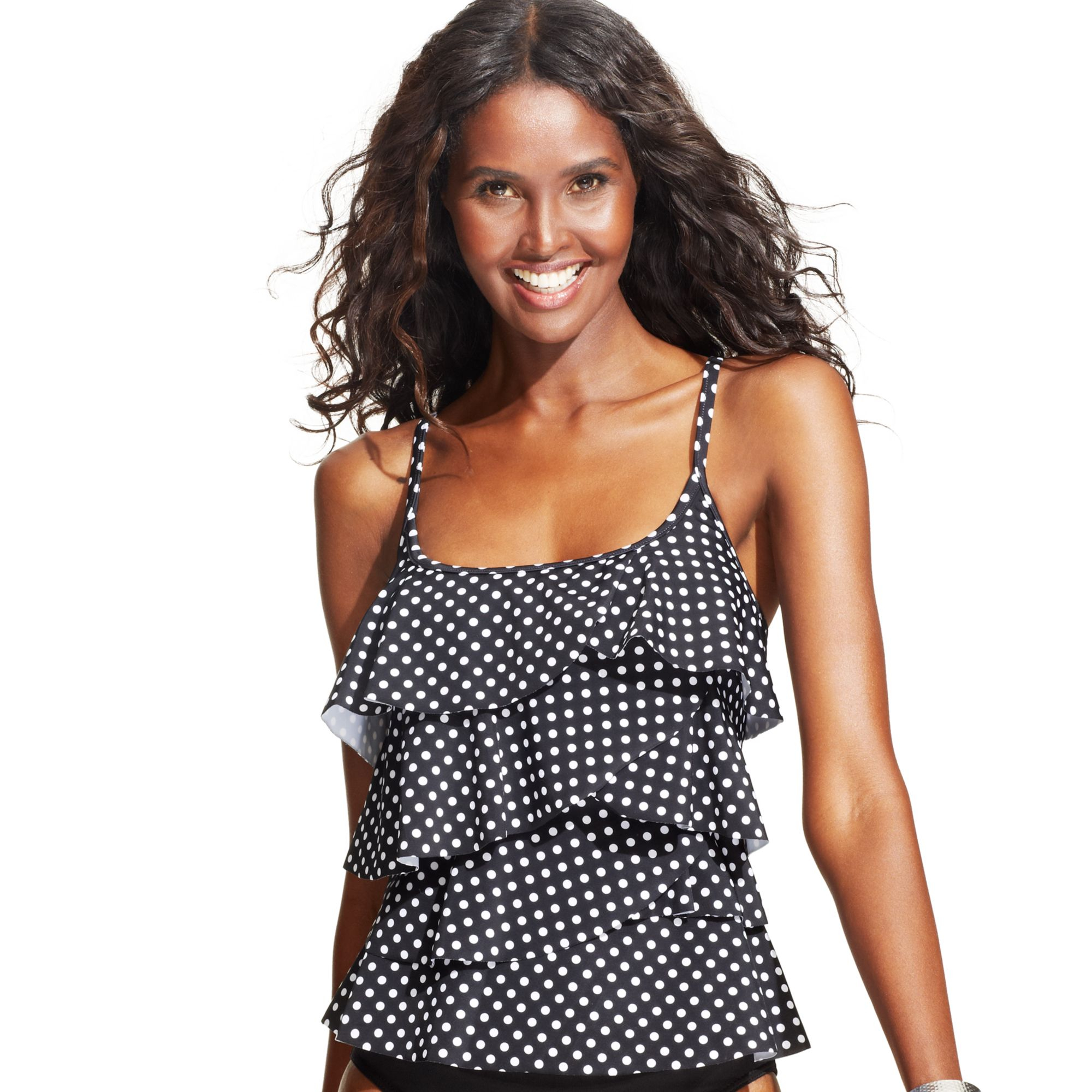 Miraclesuit Dotprint Tiered Tankini Top in Black