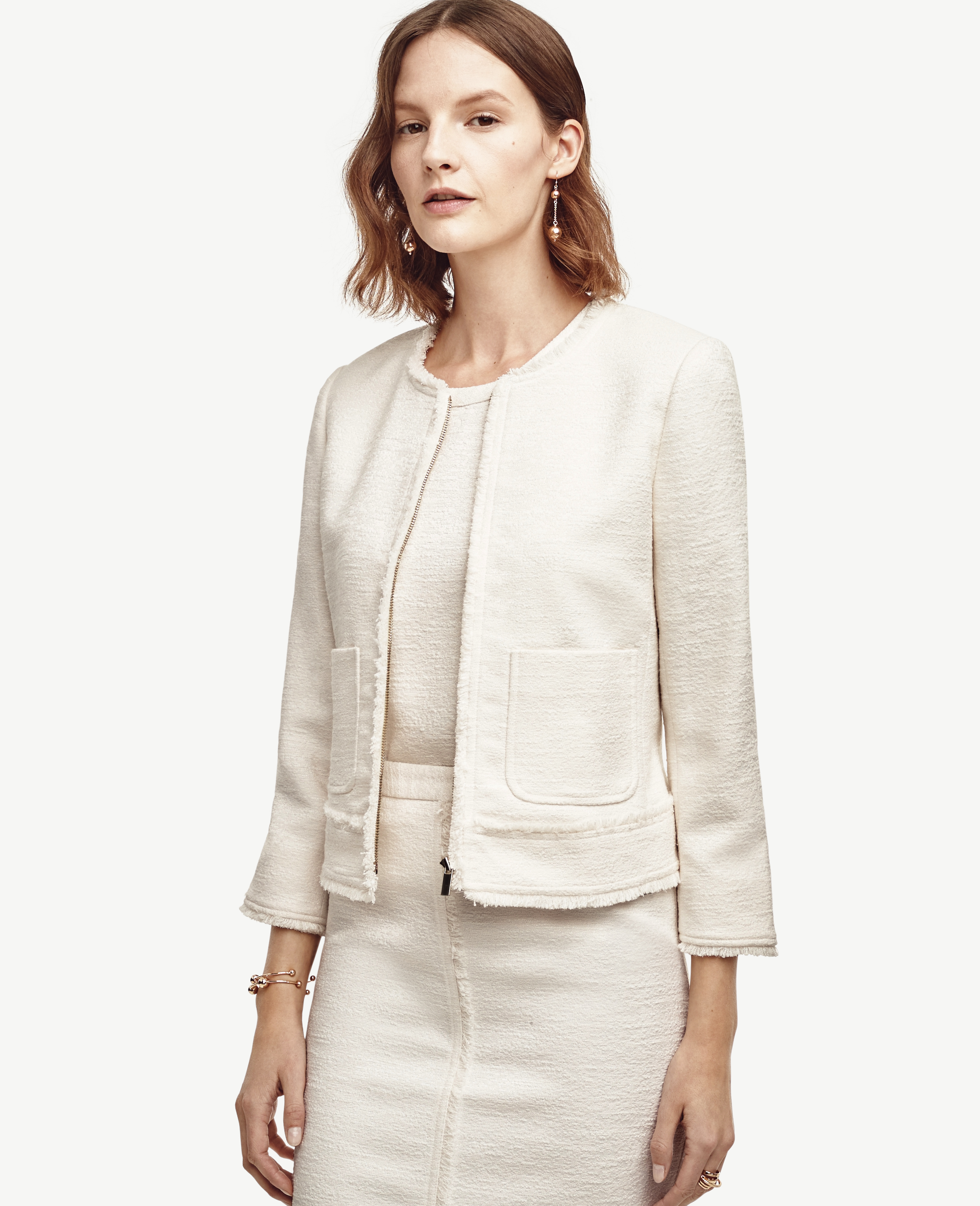 Ann Taylor Petite Fringed Tweed Jacket In White Lyst