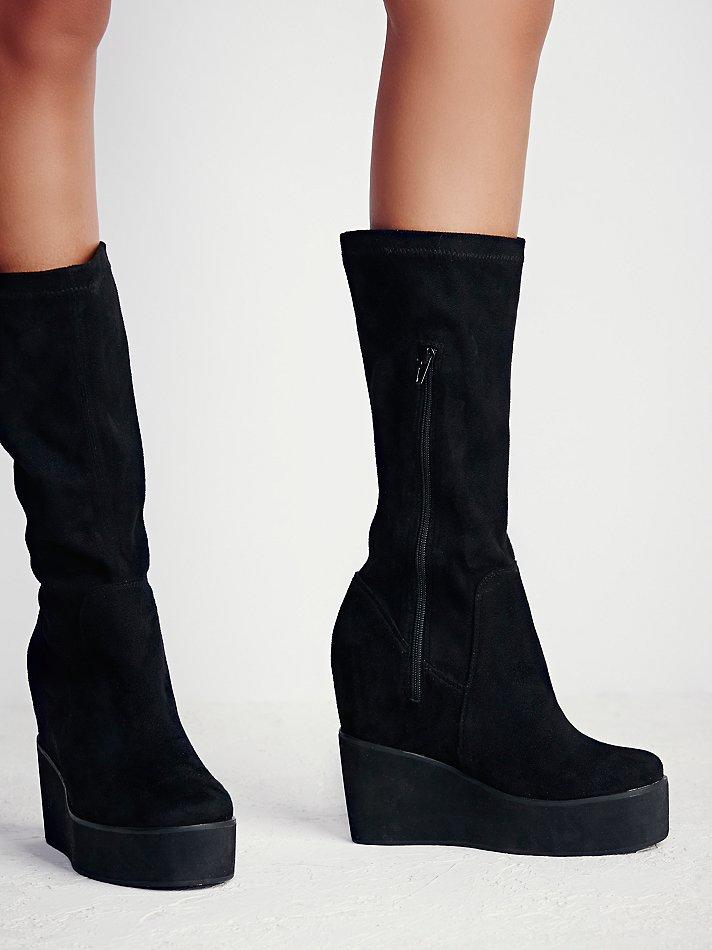 free verge platform wedge boot in black lyst