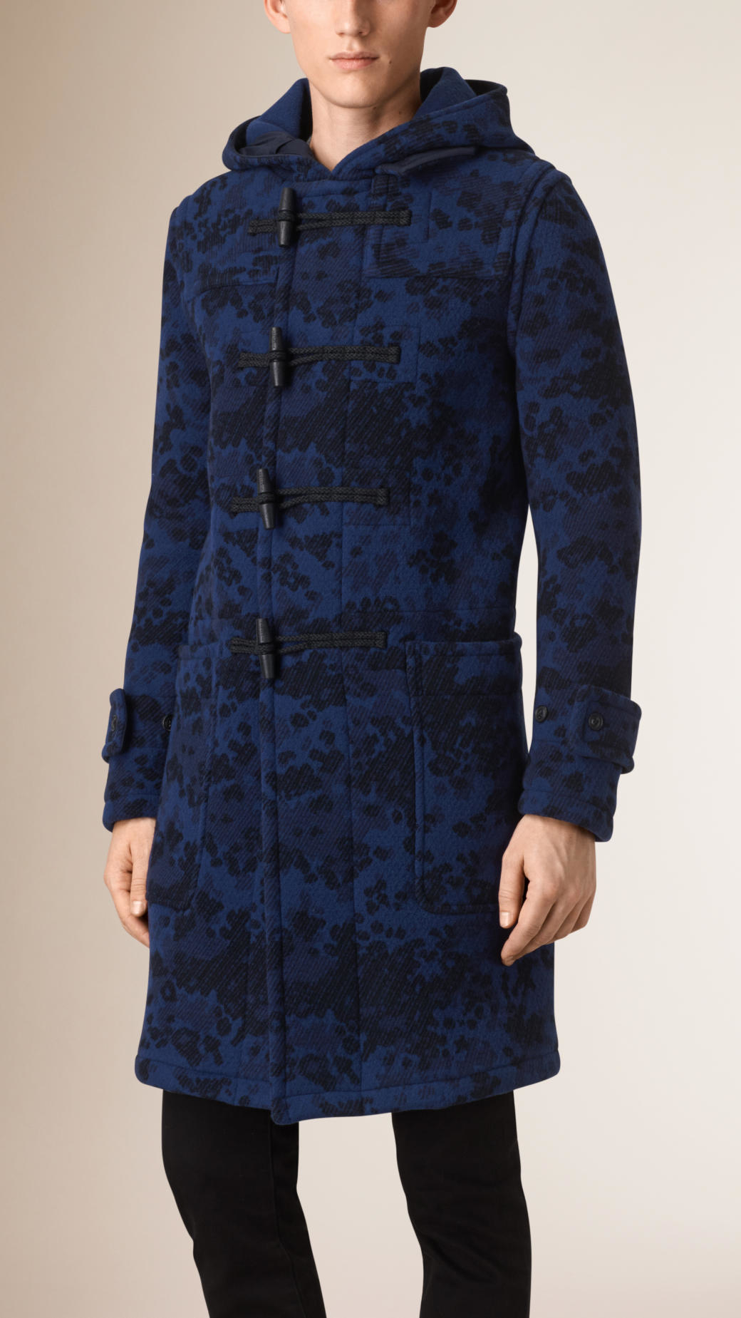 Burberry Camouflage Jacquard Wool Cashmere Duffle Coat in Blue for ...