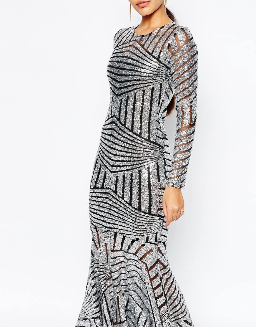 Lyst Club L All Over Sequin Fishtail Maxi Dress In Metallic