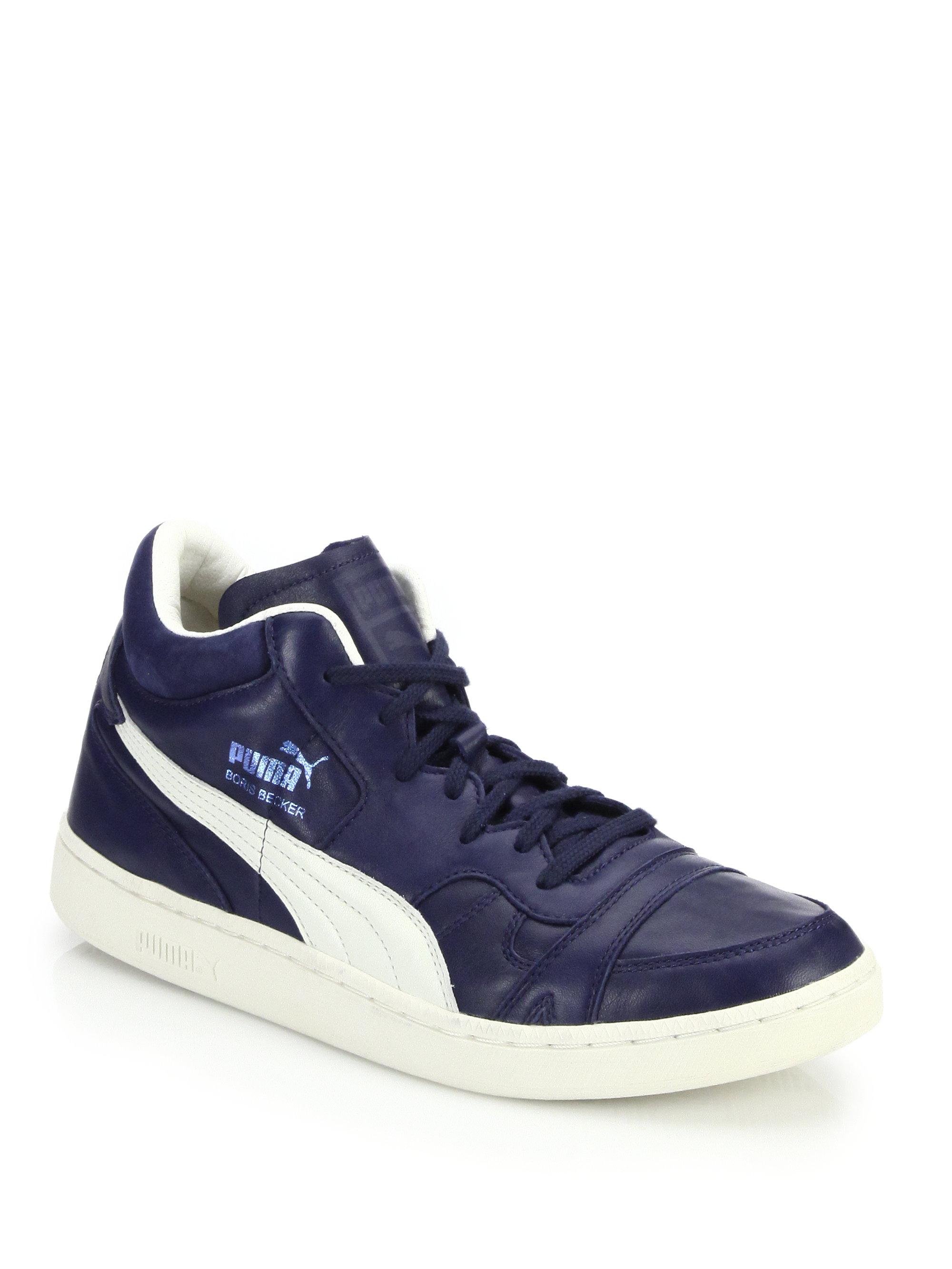 Lyst - PUMA Becker Leather High-top Sneakers in Blue 12d56af813ec