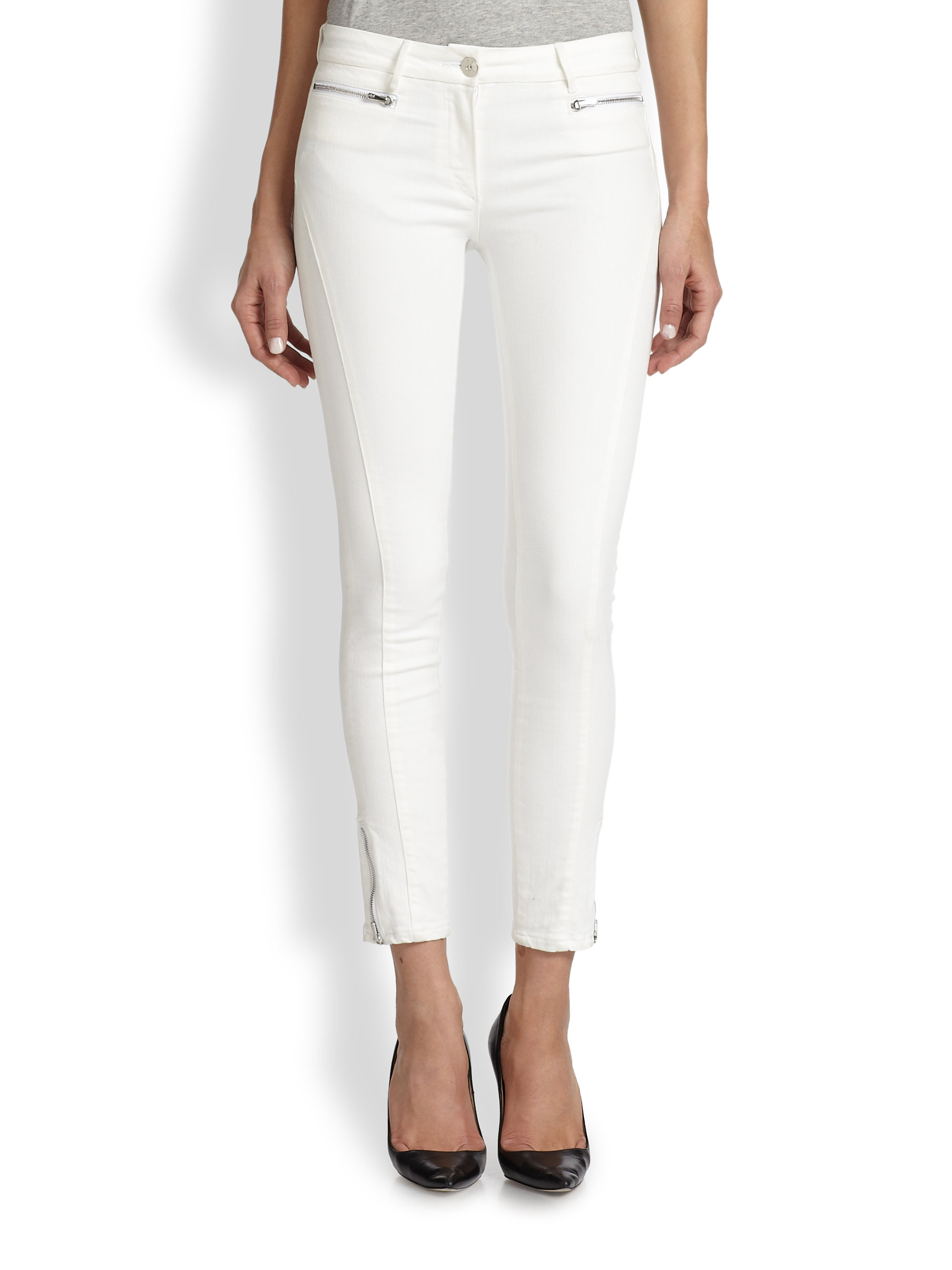 3x1 Ankle-Zip Skinny Jeans in White | Lyst