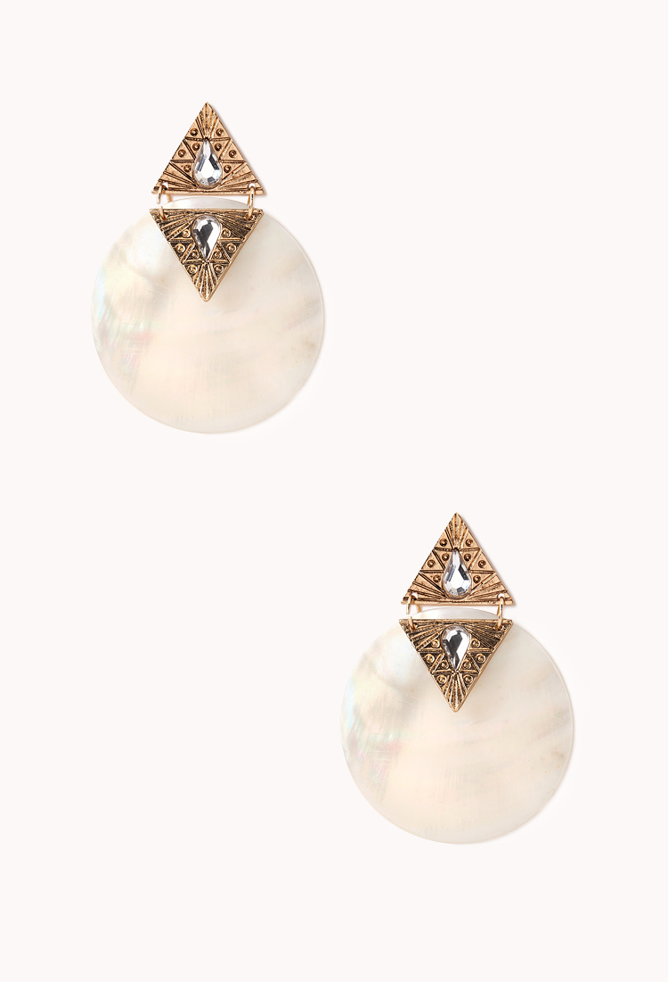 Lyst forever 21 statement iridescent drop earrings in white for Forever 21 jewelry earrings