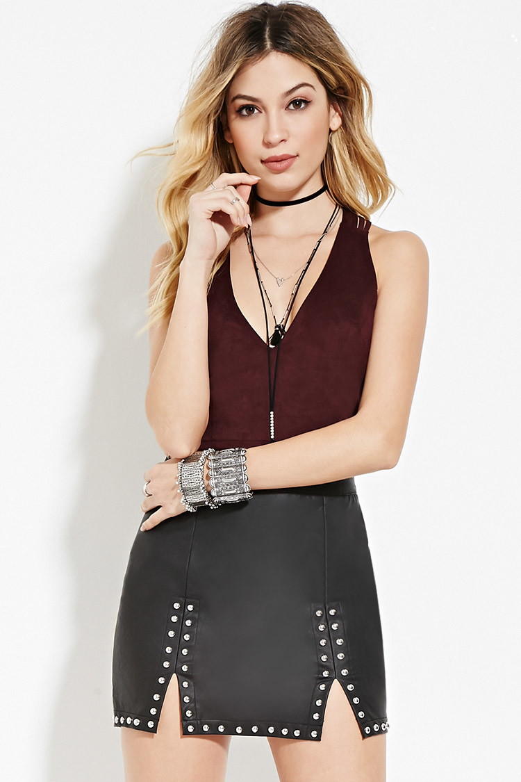 e052ac969 Forever 21 Studded Faux Leather Skirt in Black - Lyst