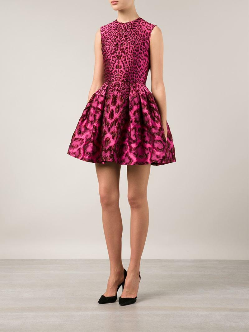Lyst Alexander Mcqueen Leopard A Line Dress In Pink