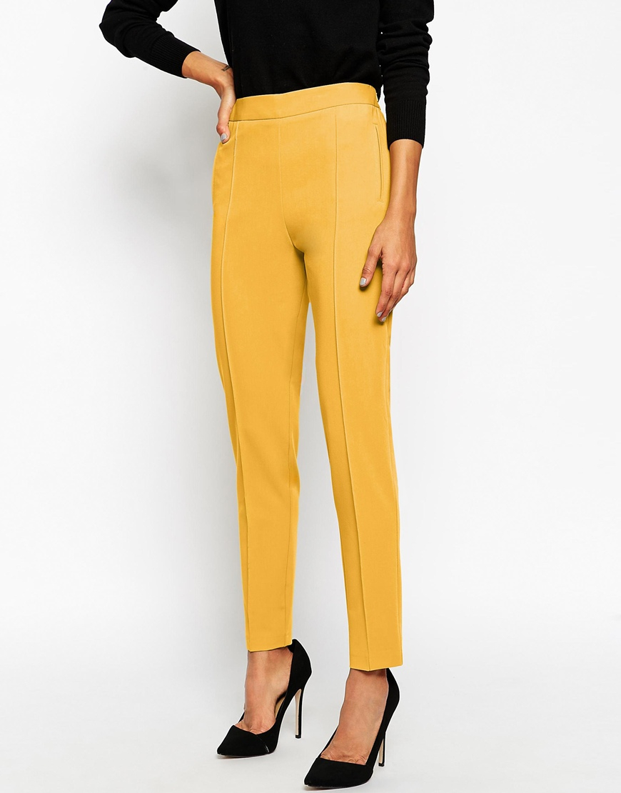Asos Trousers With High Waist in Yellow | Lyst