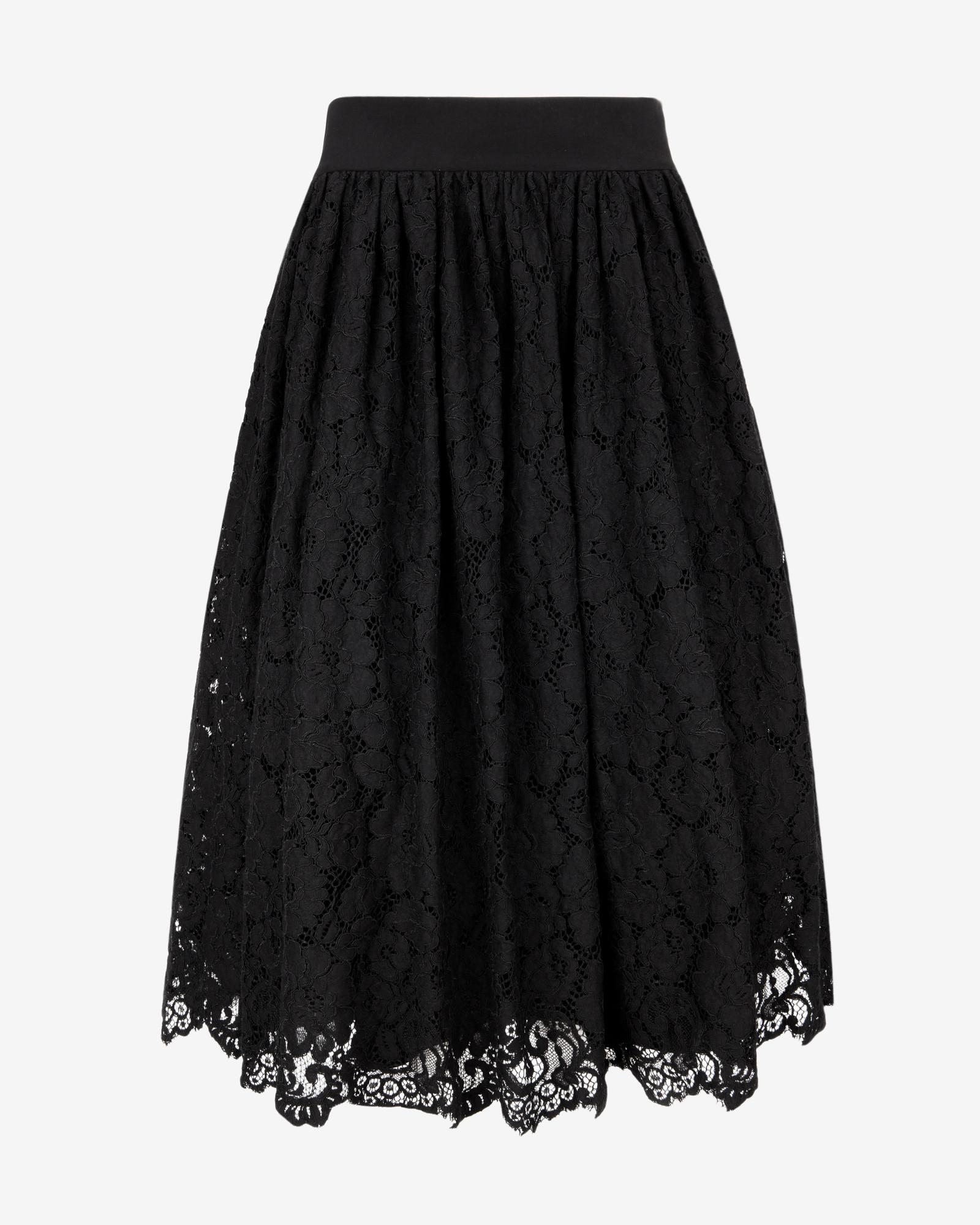 ted baker lace ballerina midi skirt in black lyst