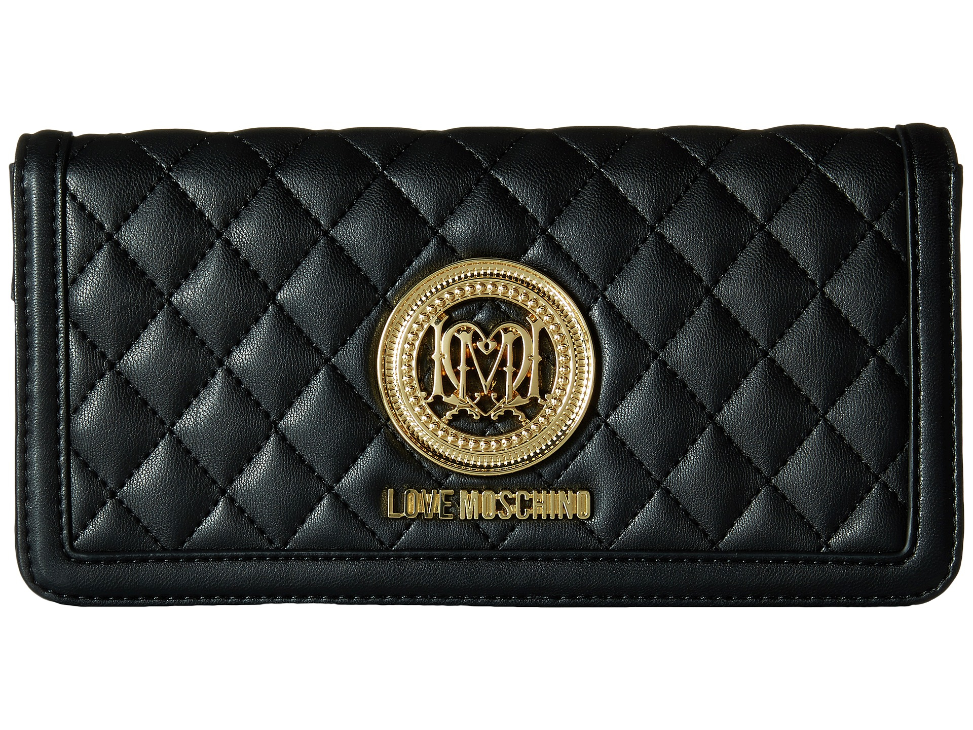 ea82581ef0b Love Moschino Quilted Wallet On Chain in Black - Lyst
