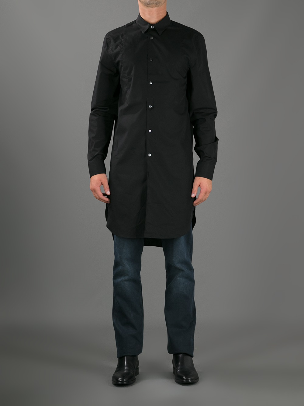 Acne studios jay extra long shirt in black for men lyst for Extra long dress shirts