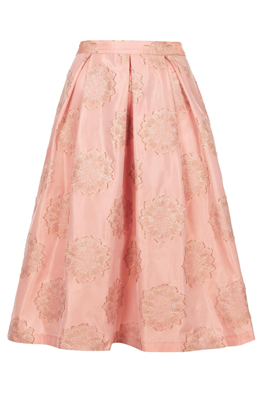 topshop antique jacquard midi skirt in orange lyst
