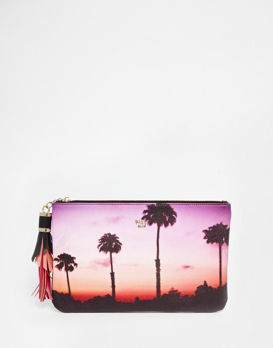Nali Palm Beach Scene Print Clutch Bag | Lyst