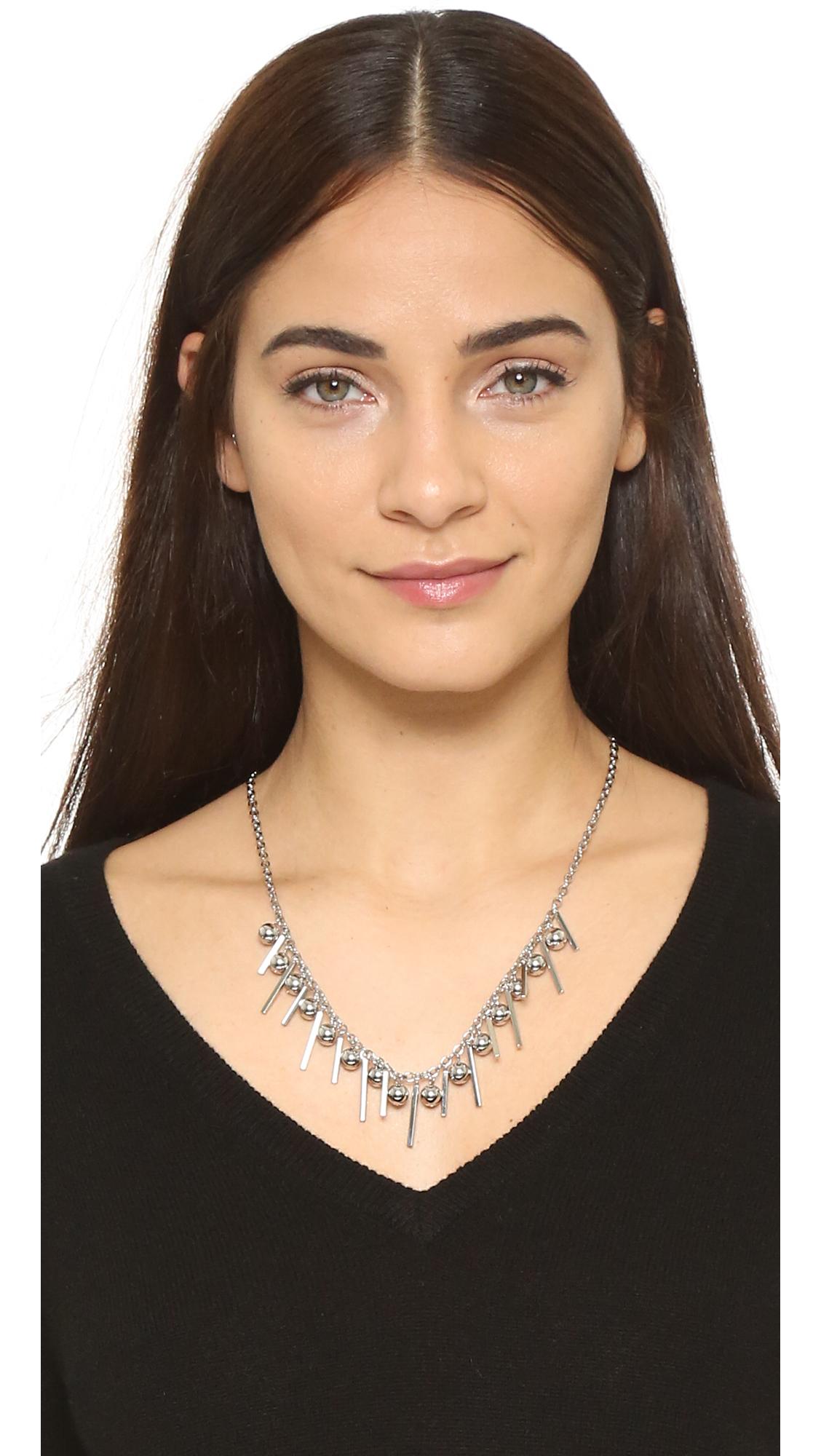 Rebecca Minkoff Bead Bar Collar Necklace In Metallic