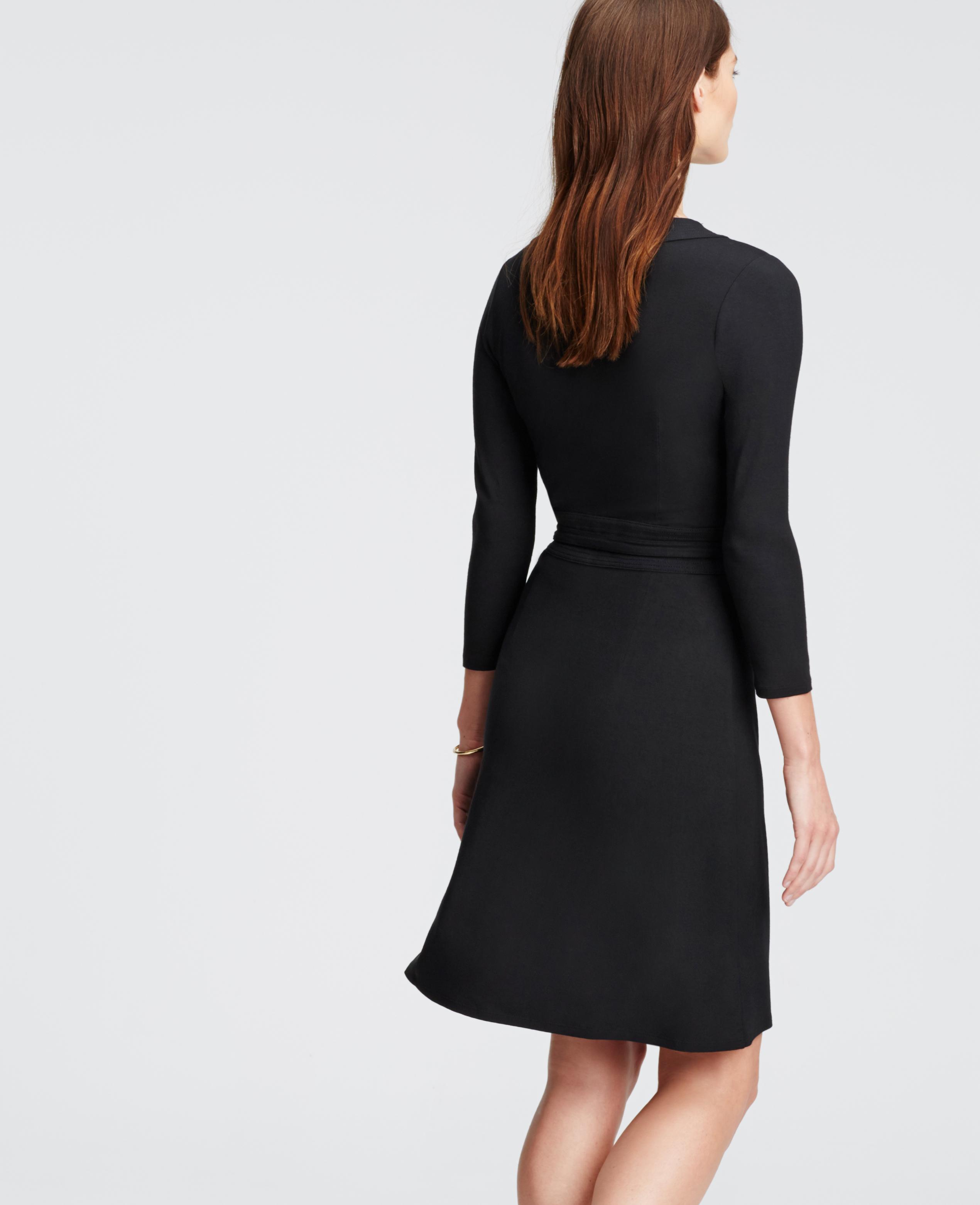 Ann Taylor Petite 3 4 Sleeve Wrap Dress In Black Lyst