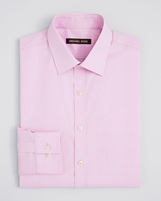 Lyst Michael Kors Glen Plaid Dress Shirt Regular Fit In Pink For Men